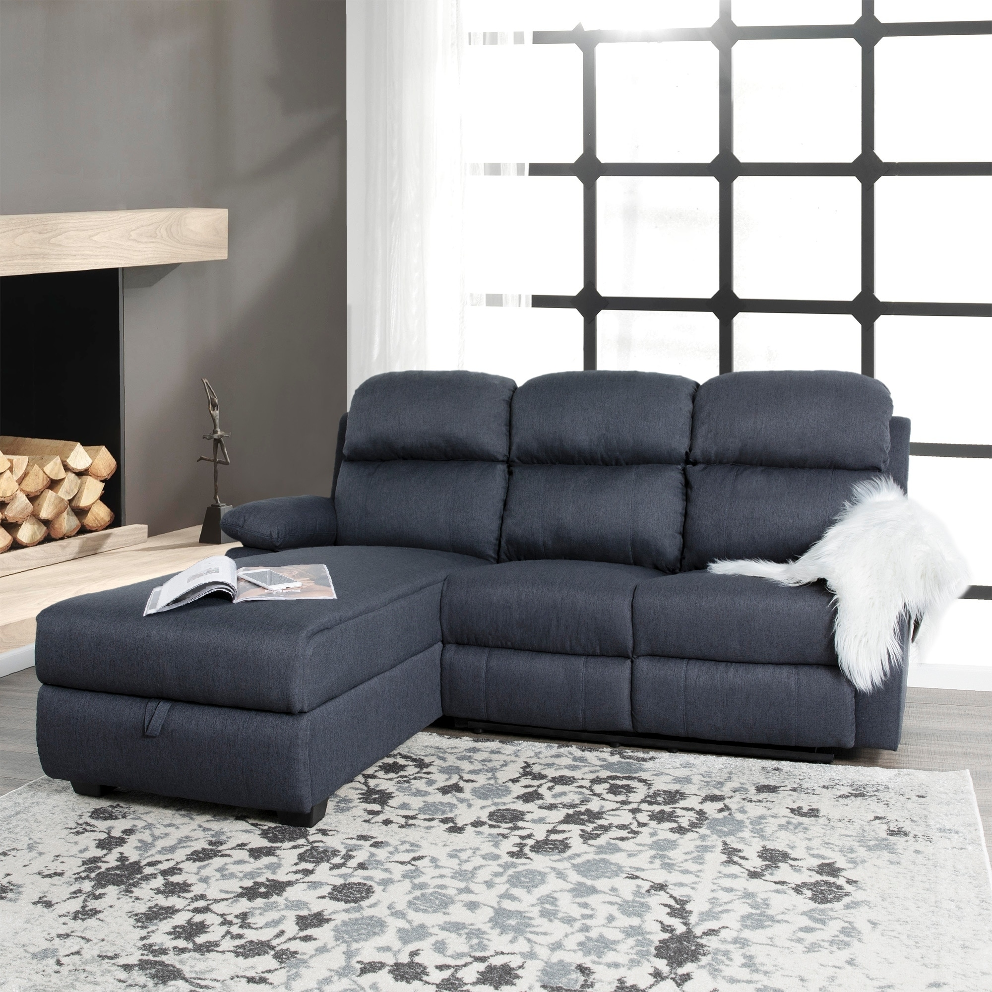 melody recliner l shaped corner sectional sofa with storage 66 x 80 x 40