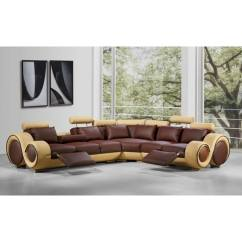 Modern Bonded Leather Sectional Sofa With Recliners Houston Tx Shop Divani Casa 4087