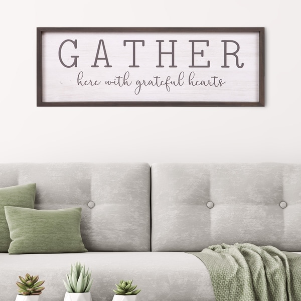framed wall art for living room decorations with brown furniture shop patton decor gather grateful hearts rustic wood 12x36