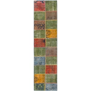 Hand Knotted Ultra Vintage Wool Runner Rug - Multi - 2' 5 x 10'