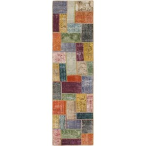 Hand Knotted Ultra Vintage Wool Runner Rug - Multi - 2' 9 x 10' 2