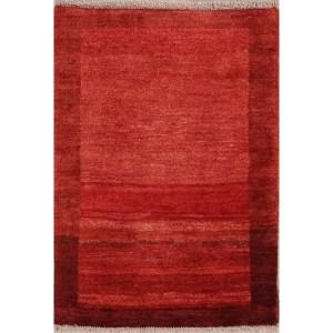 "Hand Kknotted Wool Solid Gabbeh (Zolanvari) Shiraz Persian Area Rug - 3'8"" x 2'7"""