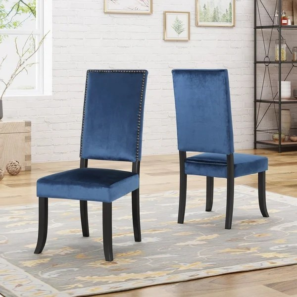 high back grey velvet dining chairs custom folding shop coquille glam nailhead accents set of 2 by christopher