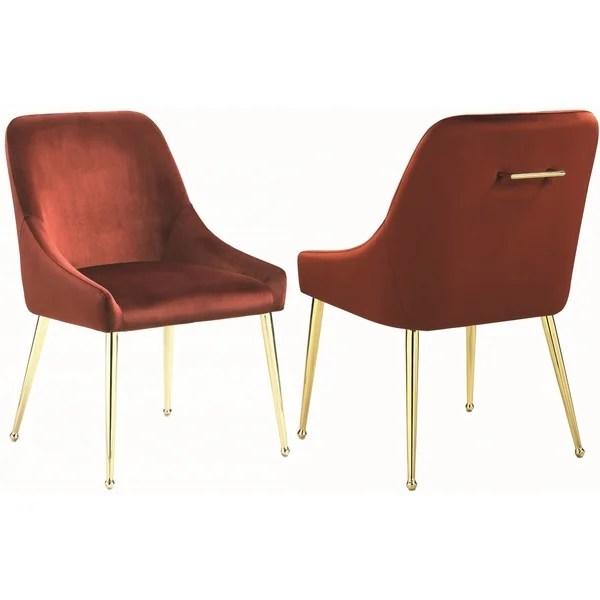 dining chairs italian design kitchen island with ideas shop mid century classic red velvet brass legs set of 2
