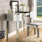 Addison Glam Mirrored Makeup Vanity Table Overstock 24122788