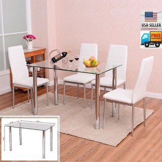 white table chairs chicco high replacement covers buy kitchen dining room sets online at overstock com our 5 piece furniture glass set w 4