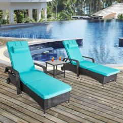 Wicker Chaise Lounge Chairs Outdoor Recliner Chair Parts Shop Kinbor 3pcs Adjustable Lounger W Table