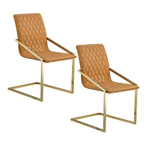 Porthos Home Maia Dining Chairs, Stainless Steel, PU Leather, Set Of 2
