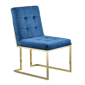 Porthos Home Glam Otis Dining Chairs - Stainless Steel, Suede Seat