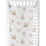 Shop Sweet Jojo Designs Blush Pink Mint Green And White Boho Woodland Deer Floral Collection Fitted Crib Sheet Overstock 24172248