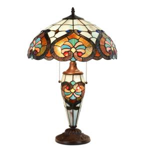 Tiffany Style  Halloween Table Lamp Victorian Jeweled Double Lit Desk Lamp Stained Glass Home Decor Lighting