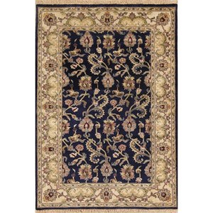 """Hand Knotted Wool Navy Blue Floral Oushak Oriental Area Rug For Foyer - 5'11"""" x 4'1"""""""