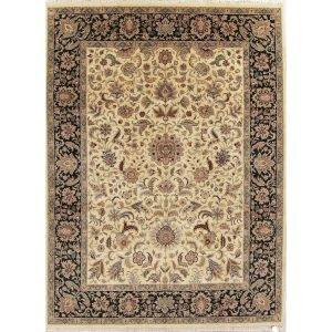 """Hand-Spun Wool Floral Agra Oriental Area Rug For Living Room - 12'1"""" x 9'0"""""""