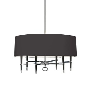6-light Incandescent Polished Chrome Finish Chandelier with Black Shade