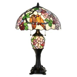 Tiffany Style  Pumpkin Light Table Lamp Victorian Hummingbird Floral Stained Glass Desk Lamp Home Decor Lighting with Lampshade