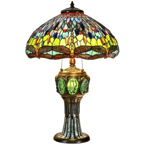 Tiffany Style Table Lamp Brass Base Victorian Dragonfly Jeweled Double Lit Desk Lamp Stained Glass Home Decor Lighting