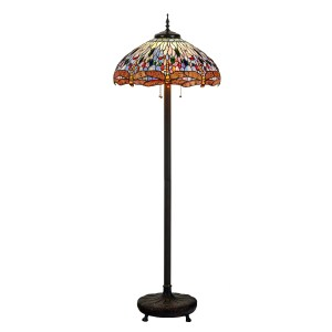 Tiffany Style 22 Inch Lampshade Floor Lamp Victorian Dragonfly Lamp Home Decor Stained Glass Lighting