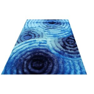 SAD 419 Turquoise Blue Area Rug Carpet 3D Shaggy Shag - 8' x 10'