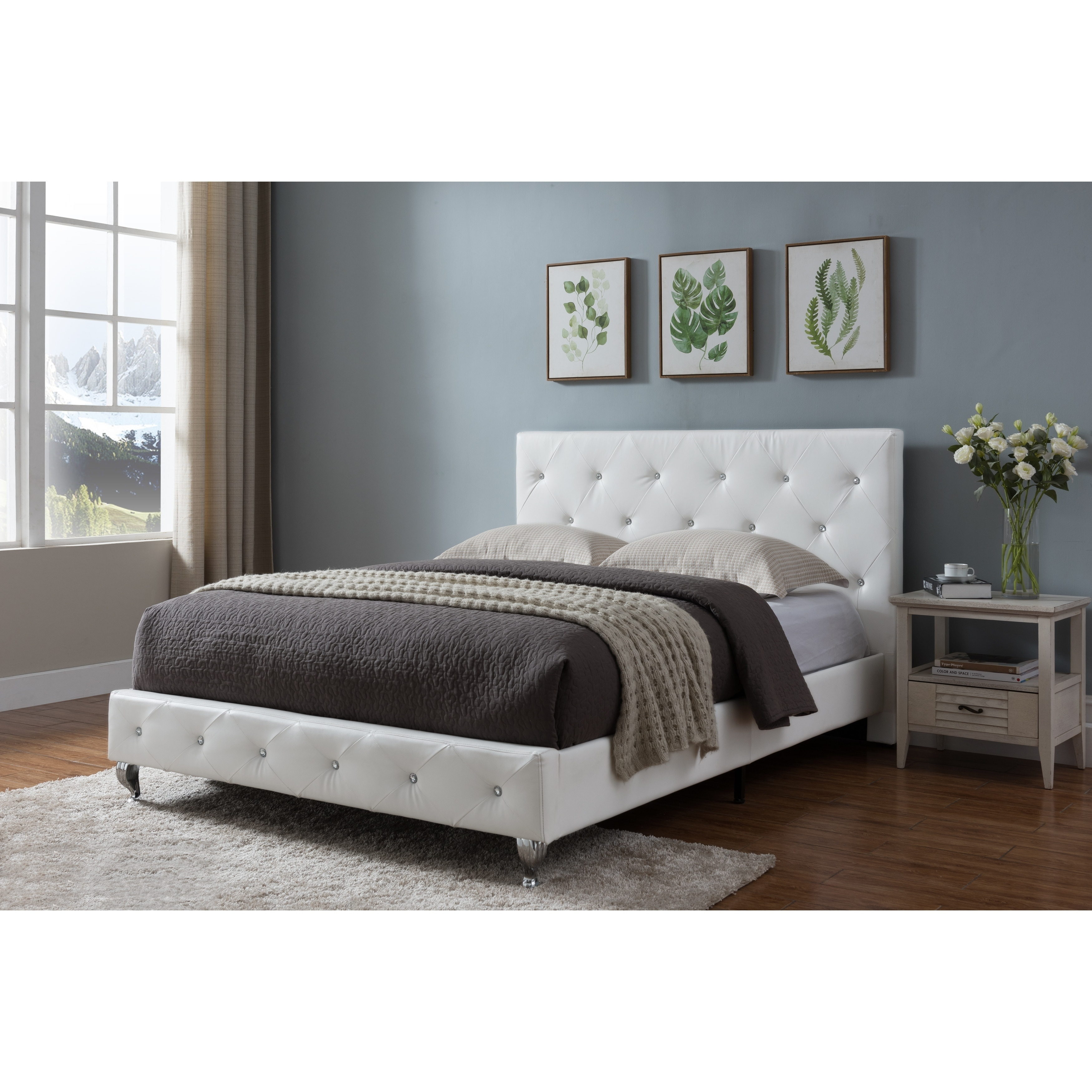 King Size Upholstered Beds White Faux Leather Overstock 24240107