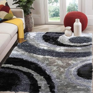 Signature 289 Gray Grey Area Rug Carpet 3D Shaggy Shag - 8' x 10'