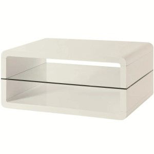Modern Coffee Table With Rounded Corners & Clear Tempered Glass Shelf, White
