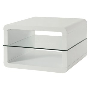 Modern End Table With Rounded Corners & Clear Tempered Glass Shelf, White