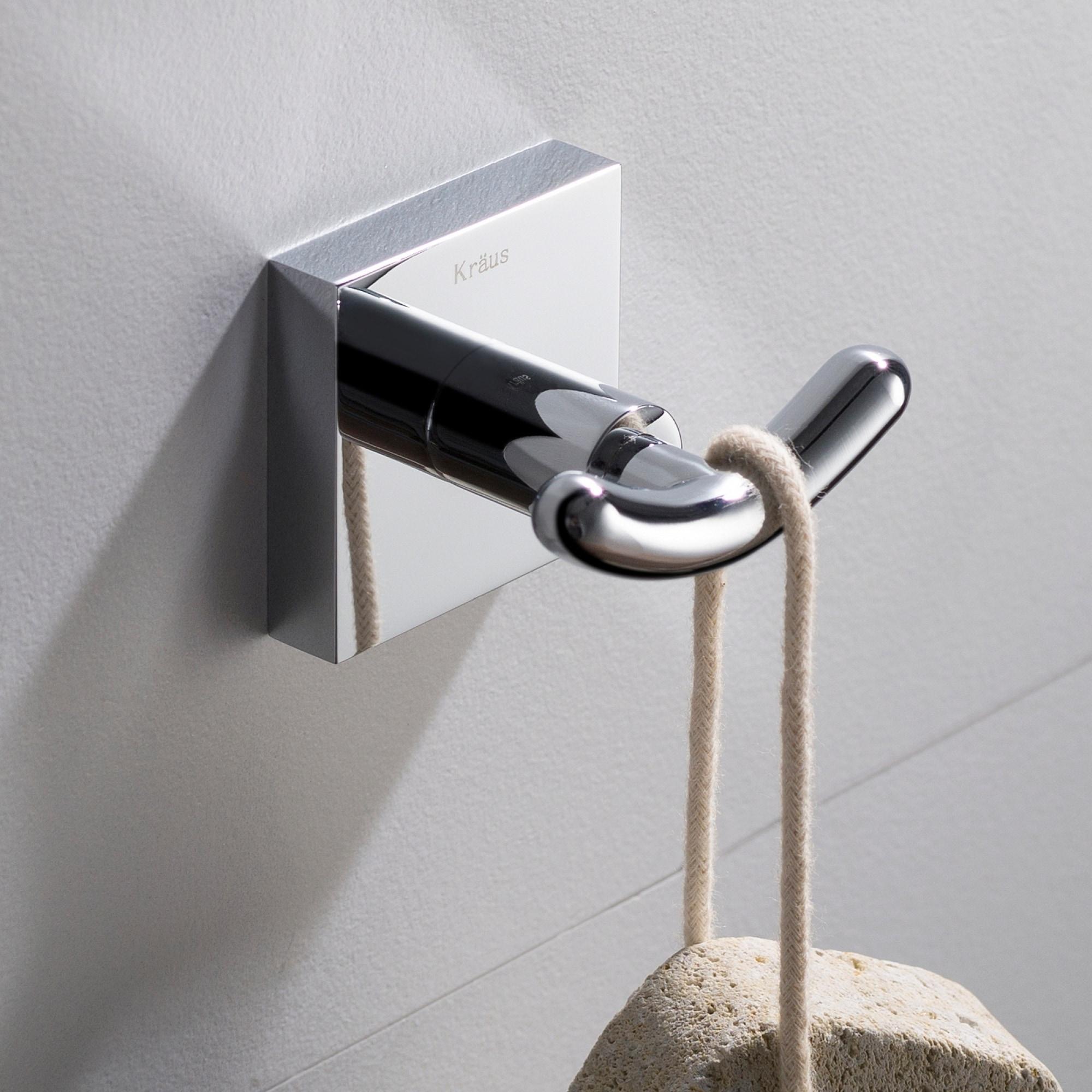 KRAUS Ventus KEA-17702 Bathroom Robe and Towel Double Hook in Chrome, Brushed Nickel, Matte Black Finish