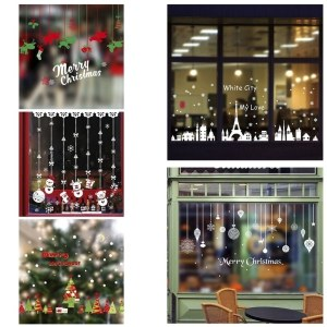 DIY Christmas Wall Stickers Shopping Mall Glass Display Window Decal Sticker