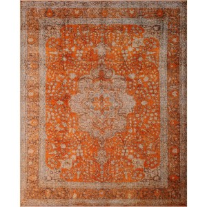 Noori Rug Widad Orange/Brown Distressed Handmade Area Rug - 10'2 x 12'4
