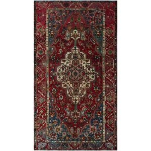 Noori Rug Jayda Red/Ivory Semi-antique Distressed Area Rug - 5'3 x 9'10