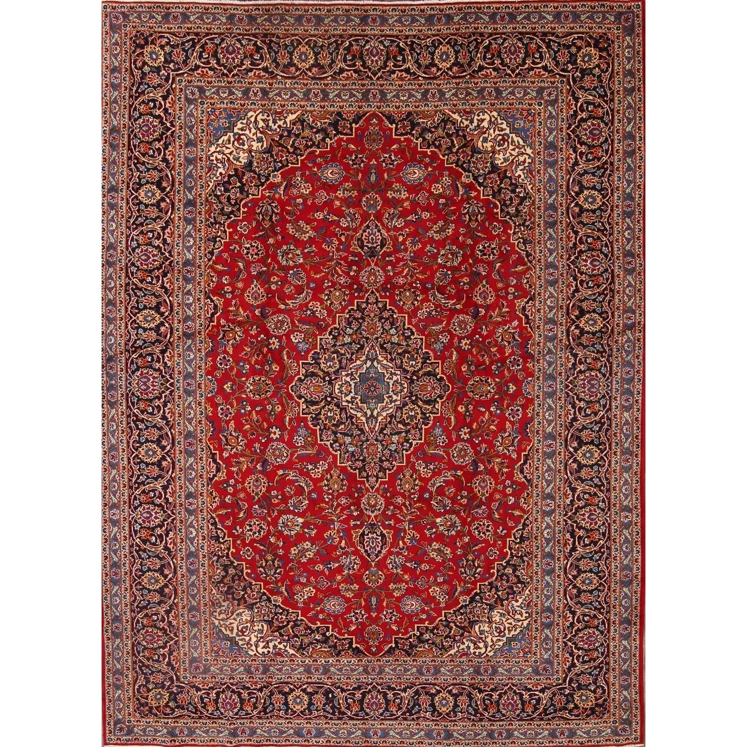 """Kashan Hand Knotted Persian Medallion Wool Blend Area Rug For Foyer - 12'10"""" x 9'5"""""""