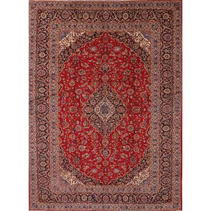 "Kashan Hand Knotted Persian Medallion Wool Blend Area Rug For Foyer - 12'10"" x 9'5"""