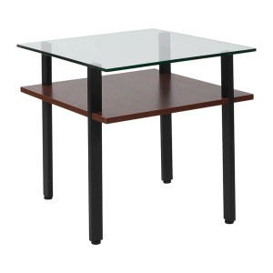 Offex West End Collection Contemporary Glass End Table with Walnut Finish Shelf