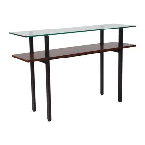 Offex West End Collection Contemporary Glass Console Table with Walnut Finish Shelf