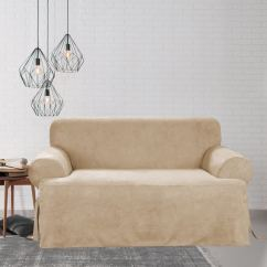 Overstock Sofa Covers Ikea Chaise Sleeper Shop Sure Fit Smooth Suede T-cushion Slipcover - Free ...
