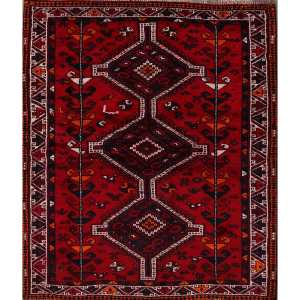 """Geometric Hand Knotted Shiraz Persian Area Rug for Bedroom - 6'3"""" x 4'3"""""""