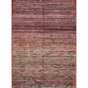 """Gabbeh Shiraz Stripe Persian Area Rug Hand Knotted Wool For Foyer - 4'7"""" x 3'6"""""""