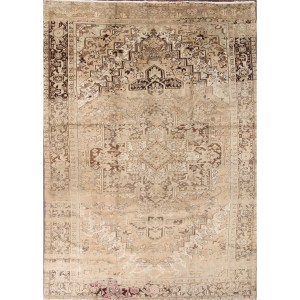 "Geometric Hand Made Heriz Persian Area Rug for Living Room - 13'3"" x 9'5"""