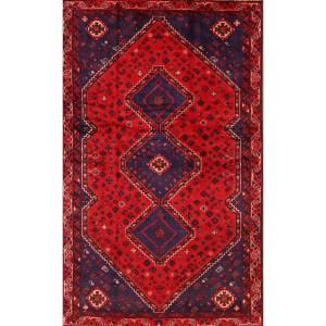 """Classical Shiraz Hand Knotted Geometric Area Rug Persian for Foyer Red - 7'9"""" x 4'9"""""""