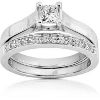 Annello 14k White Gold 1/2ct TDW Princess & Round Diamond