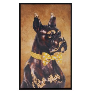 Allan Andrews 'Bow Tie Boxer' Yellow Canvas Floater-framed Wall Art