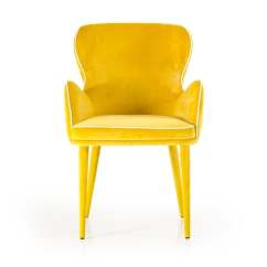 Yellow Upholstered Dining Chairs Norwegian Posture Chair Shop Homeroots Furniture 33 H Modern Fabric With White Piping