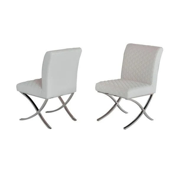 dining chairs with stainless steel legs folding chair nylon webbing shop homeroots furniture modern white leatherette set of 2