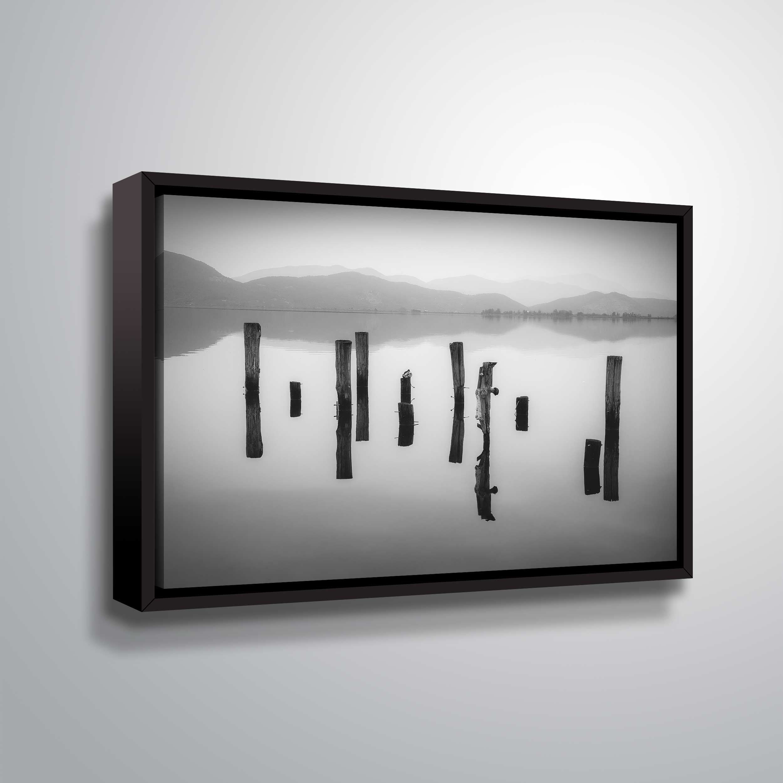"""ArtWall """"Poles in Reflection"""" Gallery Wrapped Floater-framed Canvas"""