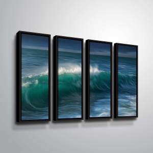 "ArtWall ""Wave"" 4 Piece Floater Framed Canvas Set"