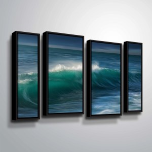 "ArtWall ""Wave"" 4 Piece Floater Framed Canvas Staggered Set"