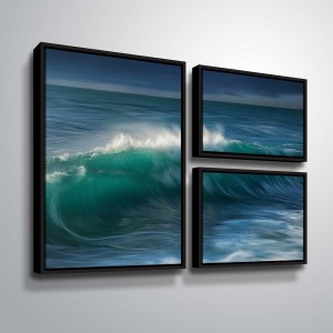 "ArtWall ""Wave"" 3 Piece Floater Framed Canvas Flag Set"