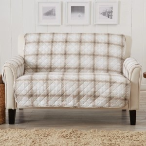 Great Bay Home Stain Resistant Plaid Printed Loveseat Furniture Protector
