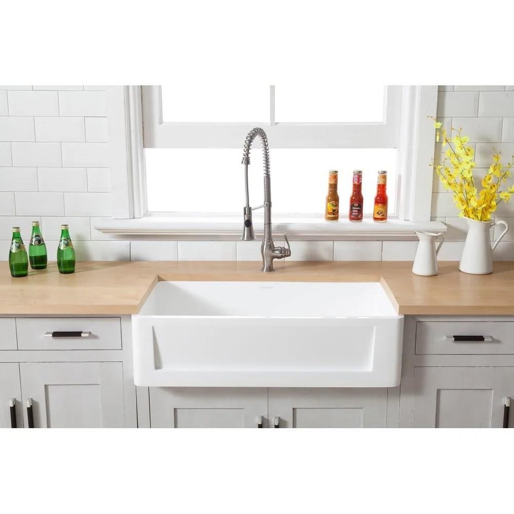 farmhouse solid surface white stone 33 inch single bowl kitchen sink 33 x 18