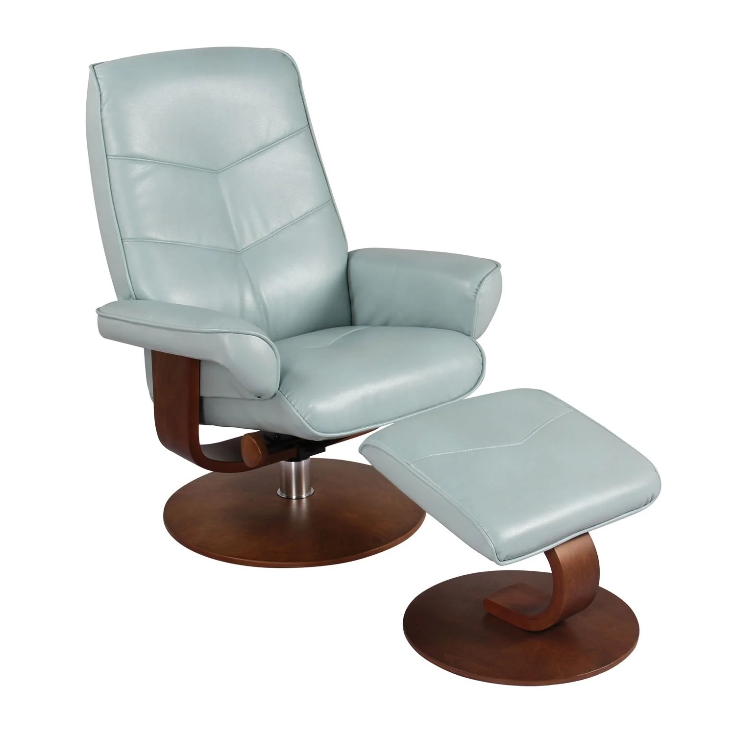 Swivel Recliner Chairs Homeroots Furniture Swivel Recliner Chair And Ottoman Pastel Blue